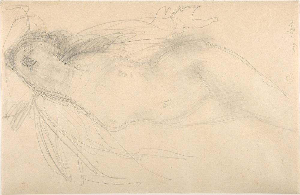 """Female nude reclining"" by Auguste Rodin"