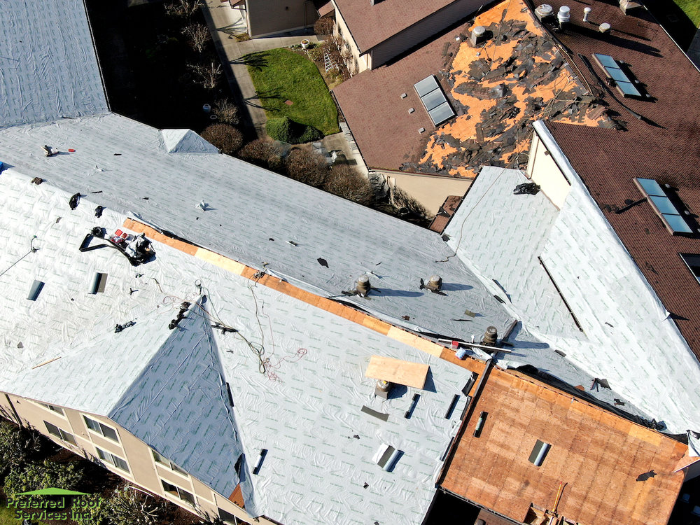 During Tear-off & Installation of Underlayment