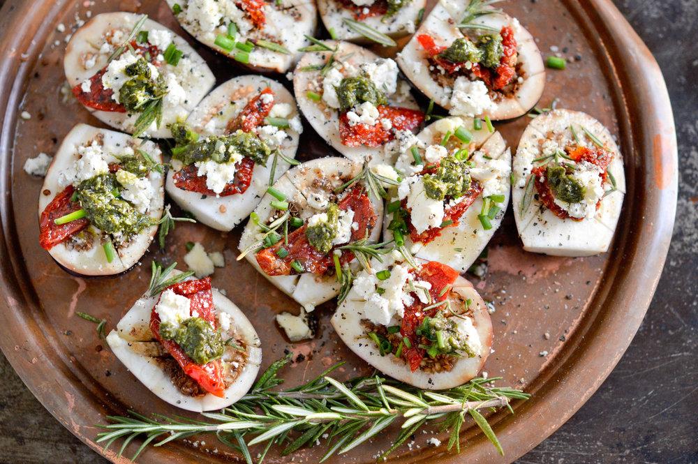 Brinjals basil pesto and feta
