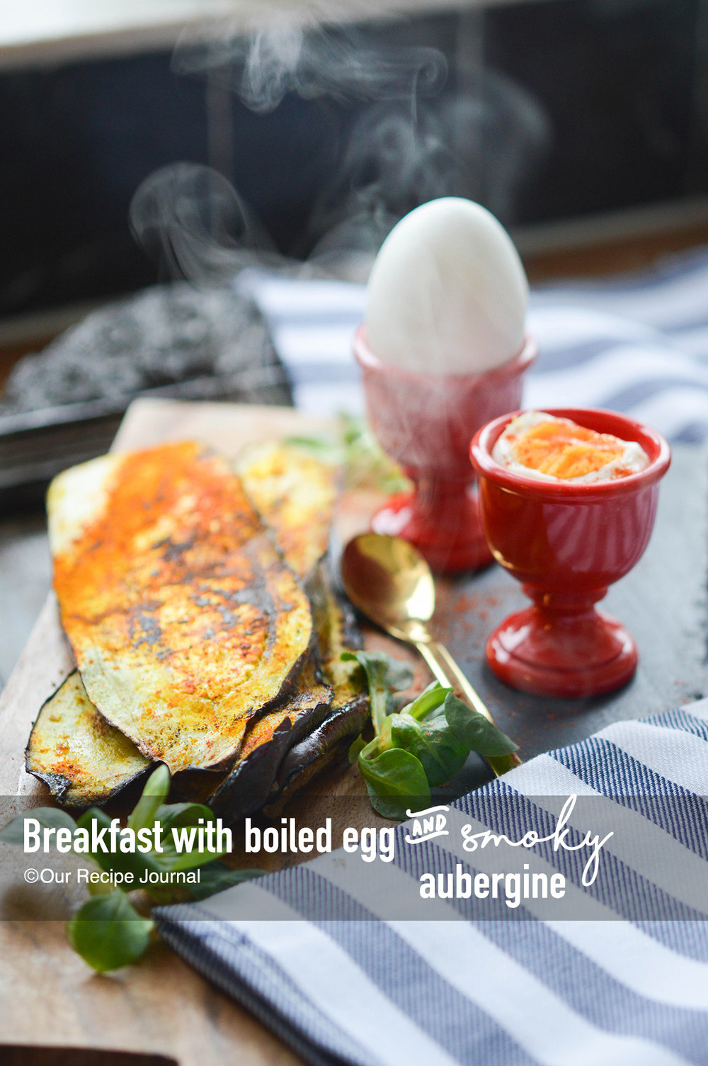 Breakfast with smoky aubergine and boiled egg