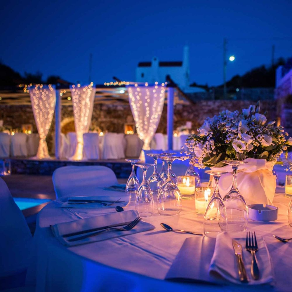 reception with led lights