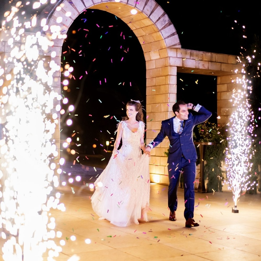 couple's entrance with fireworks
