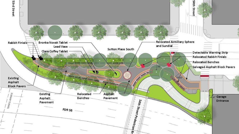 Redesigned access bridge at 54th Street park