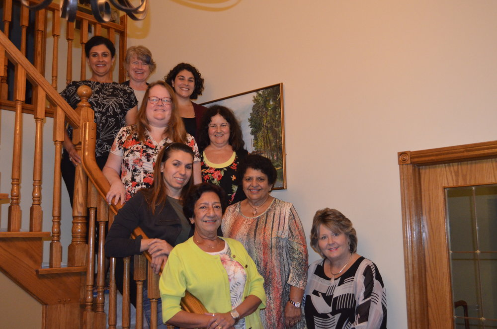 FEW Board Members (L to R): Alka Seoni, Jackie Gerlach, Katherine Laycock, Tammy Cressman, Anne Cameron, Sylvia Terzian, Rita Khan, Renu Bhandari (ED), Brenda Halloran