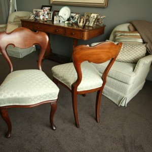 a touch of glamour to the dining room with these restored and reupholstered chairs