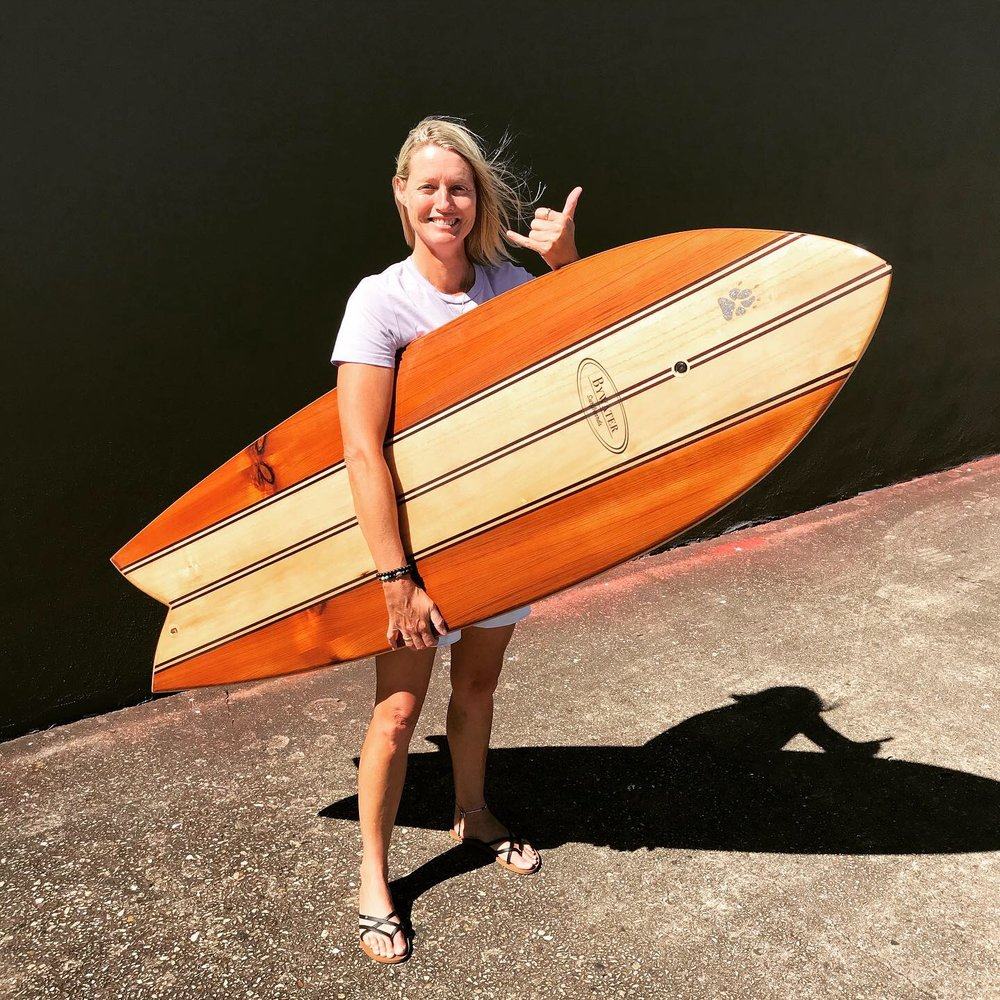 You just cant wipe that smile …Deb with the 2nd Wooden Surfboard she has made with us.