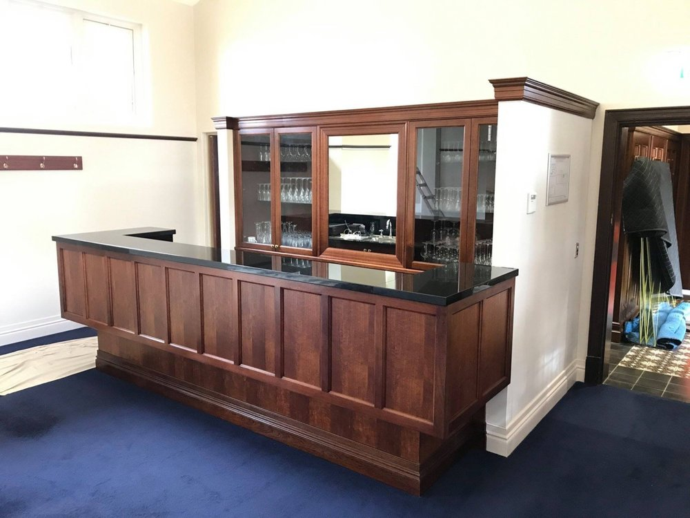 completed bar restoration with detailed panelling