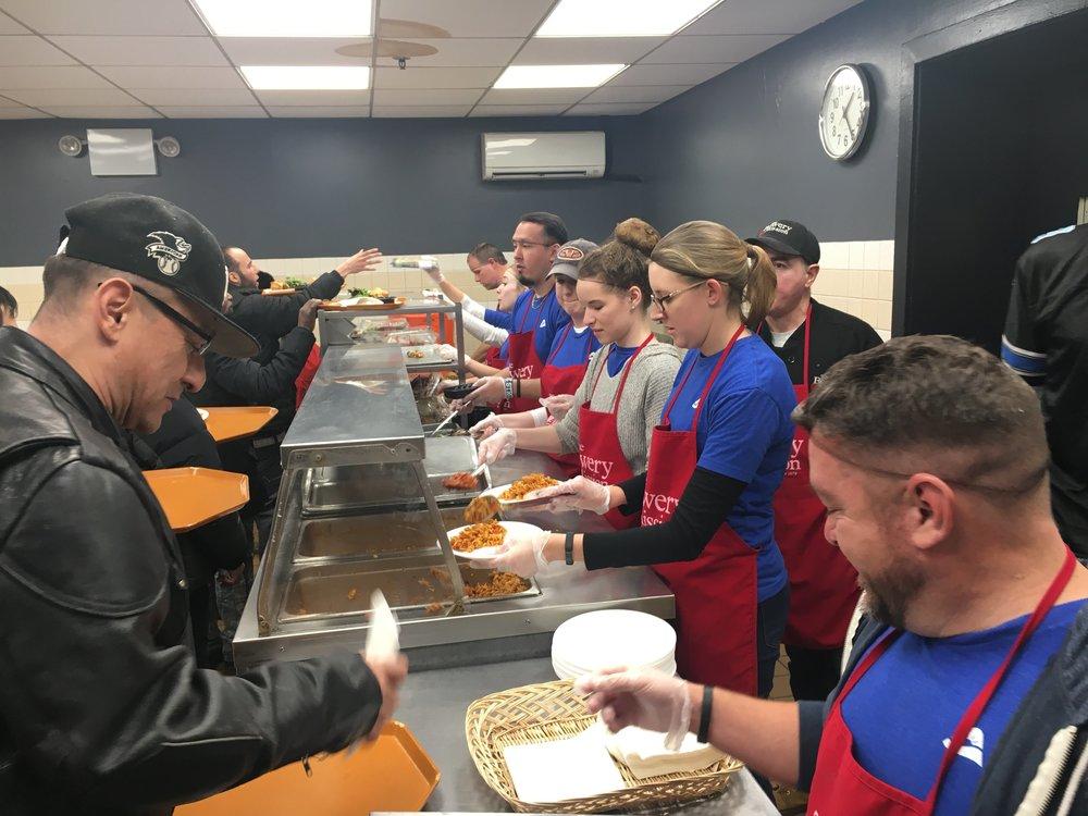 Serving at Soup Kitchen