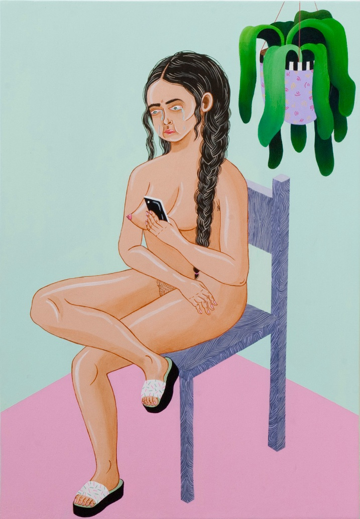 Portrait of a naked woman on a chair