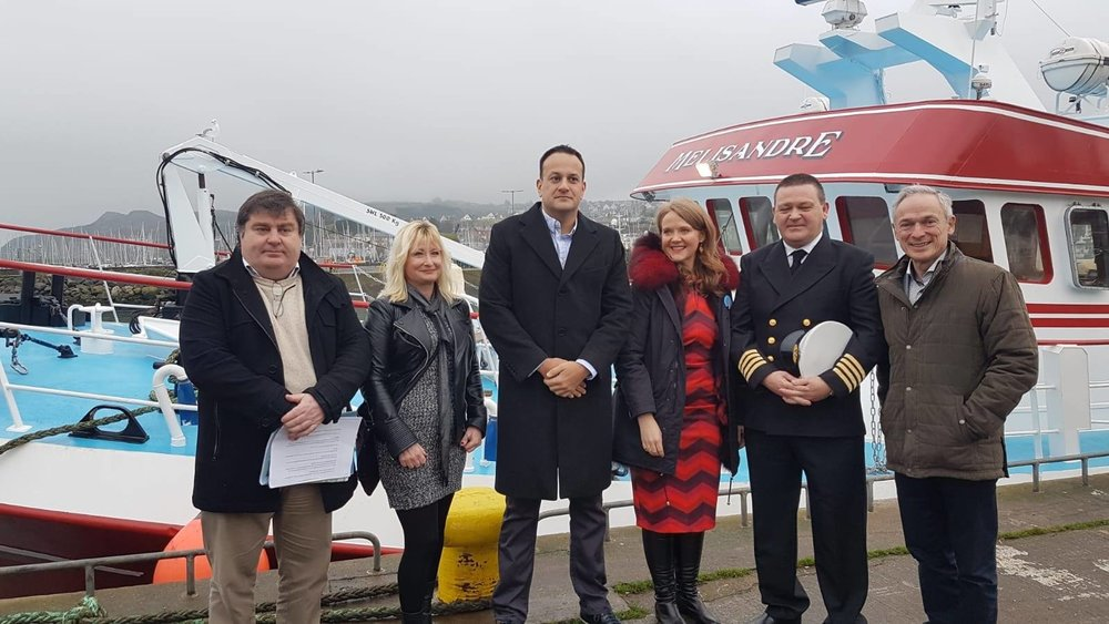 Picture above:- Sean Doran, Tracey Floyd (Howth Tourism), Taoiseach Leo Varadkar, Senator Catherine Noone, Harbour Master Harry Mc Loughlin and Minister Richard Bruton TD.