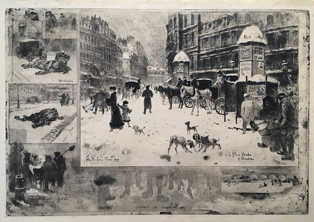 ❄️ Felix Buhot, L'Hiver a Paris, 1879. ❄️ #Etching , #aquatint , #roulette , and #drypoint . Boucard-Goodfriend 128, ii-iii/ix, on Japan paper. 9 1/4 x 13 3/4 in. . 🖌 #FelixBuhot is remembered as an experimental 19th century French #printmaker and known for his #cityscapes, especially of Paris. . 🖌 Breaking with convention, Buhot did not strive for a singular aesthetic for his the finished product; instead, he preferred to add and subtract features from each state as he progressed. . 🖌 For example, there are different versions of L'Hiver a Paris with different dogs in the foreground of the main image.