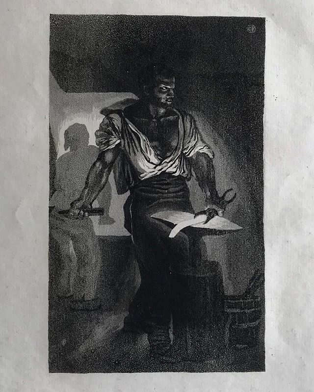 Eugène Delacroix, Un Forgeron (A Blacksmith), 1833. 🖌 Aquatint and drypoint. 🖌 Two Delacroix exhibitions are currently on view at @metmuseum , displaying both works on paper and paintings. 🔍 Delteil 19.iii-iv, with initials 'E.D,' prior to Société des Aquafortistes edition of 1867. Provenance: Henri M. Petiet, with his monogram on verso (not in Lugt). . #eugenedelacroix #oldmaster #worksonpaper