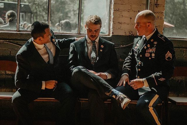 Intimate photos of the groom and his friends/family are just as important to your photo album as photos with just the bride! We don't get to see enough pictures of the men involved in weddings so we appreciate when an amazing photographer like @jennamarievisuals captures them! . . . Venue: @foresthallatchathammills . . . #ncweddingvenue #ncwedding #ncweddings