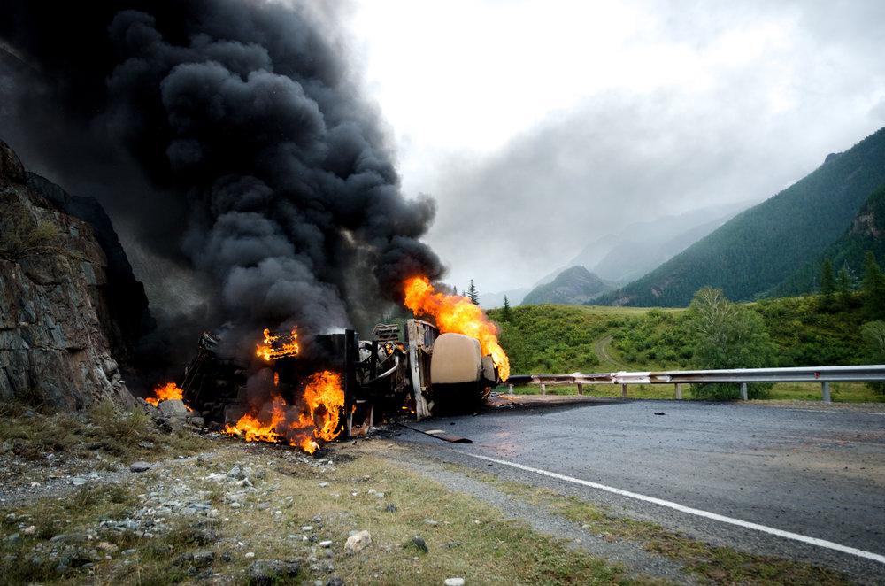 Tanker crash on the interstate