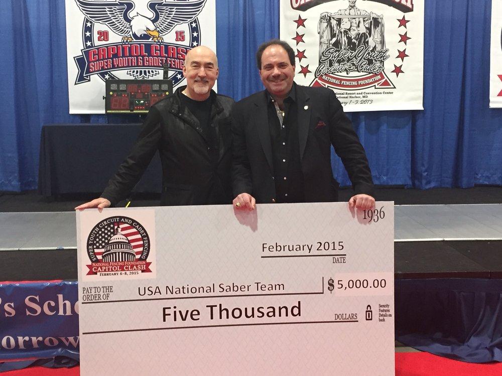 Donation to the USA National Saber Team with Senior USA Team Coach, Zoron Tulum & National Fencing Foundation president, Alexandre Ryjik