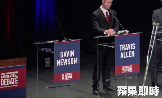 民調支持度最高的現任副州長、民主黨的紐森(Gavin Newsom)並無出席。張紫茵攝