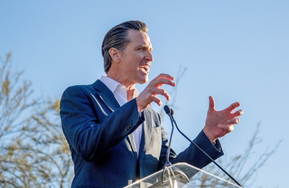 California Lt. Governor, Gavin Newsom speaks at the United Voices Rally outside the United Talent Agency Friday, February 24, 2017 in Beverly Hills, California. AFP/AFP/GETTY IMAGES