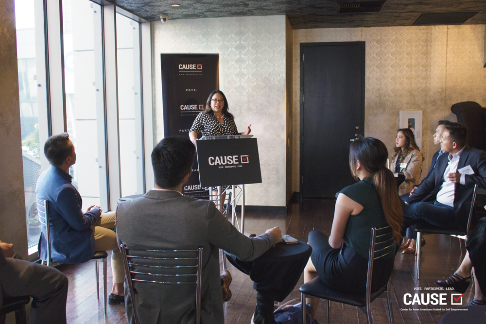 Mona Pasquil speaking to the CAUSE Leadership Network