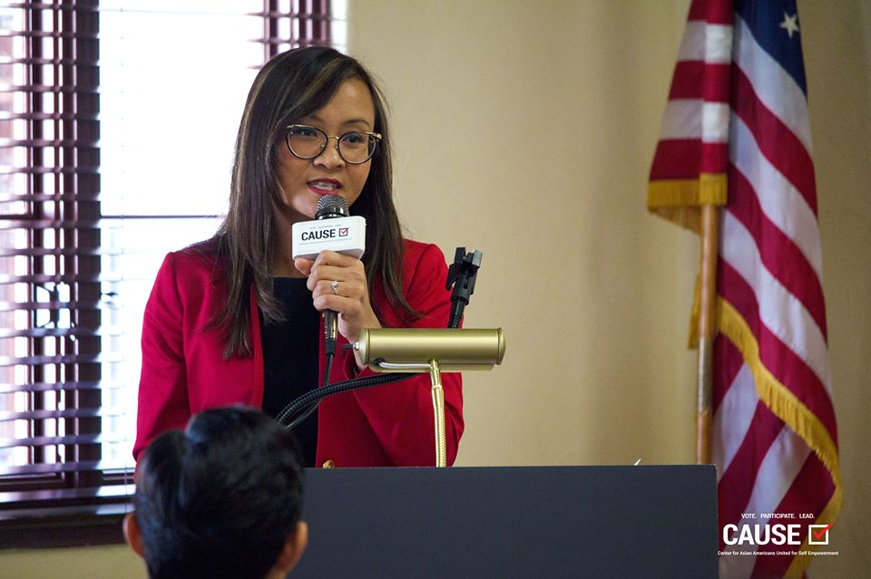 Tammy Tran speaking at the CAUSE Energy & Environment Town Hall