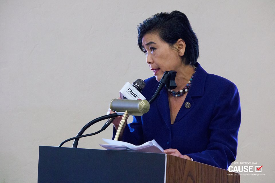 Judy Chu speaking at the CAUSE Energy & Environment Town Hall