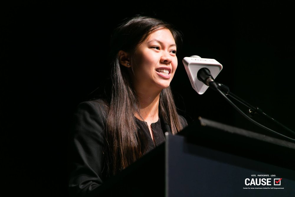 Leann Pham speaking at the 2018 Leadership Academy Graduation