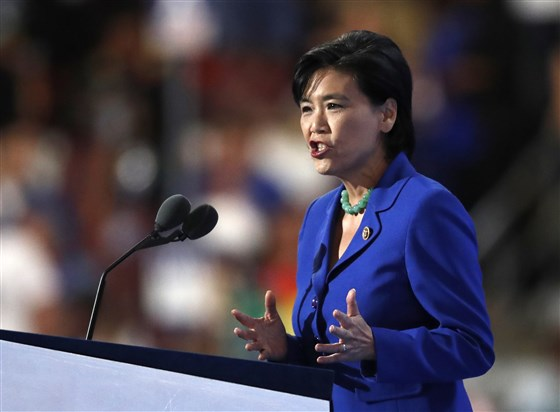 Rep. Judy Chu, D-Calif., speaks during the third day of the Democratic National Convention in Philadelphia , Wednesday, July 27, 2016. Paul Sancya / AP