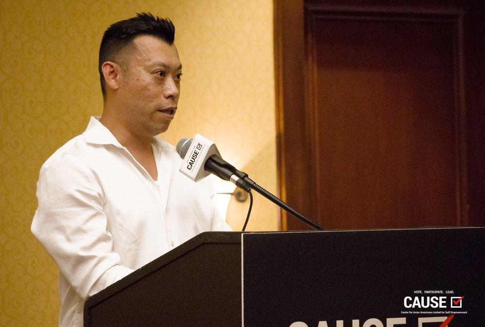 Adam Ma speaks at the 2018 CAUSE Leadership Institute Graduation