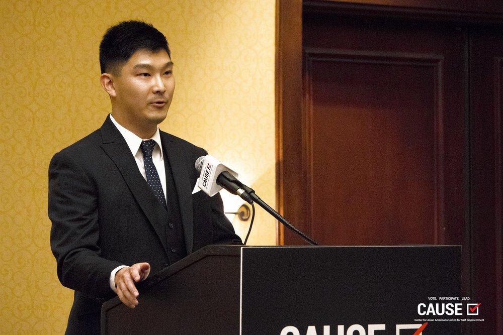 Adam Hsu speaks at the 2018 CAUSE Leadership Institute Graduation