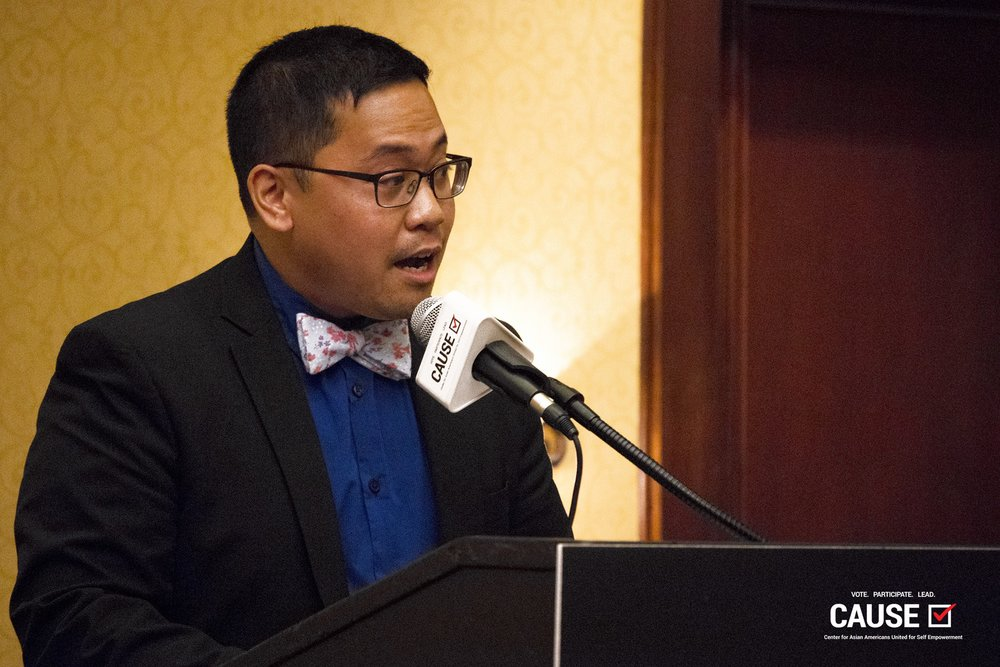 AndyMike Emata speaks at the 2018 CAUSE Leadership Institute Graduation