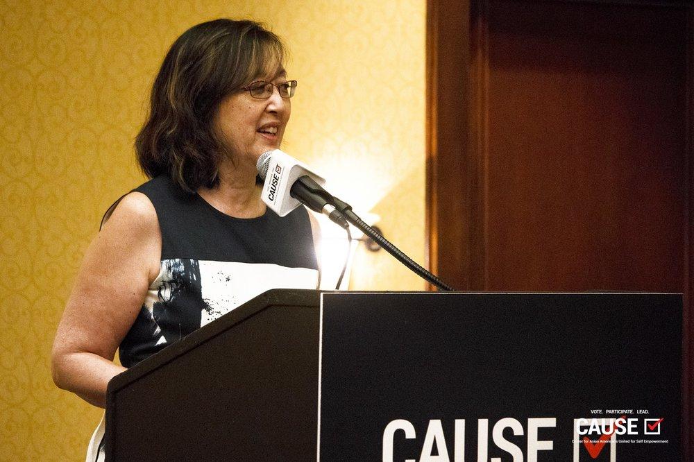 Patricia Kinaga speaks at the 2018 CAUSE Leadership Institute Graduation