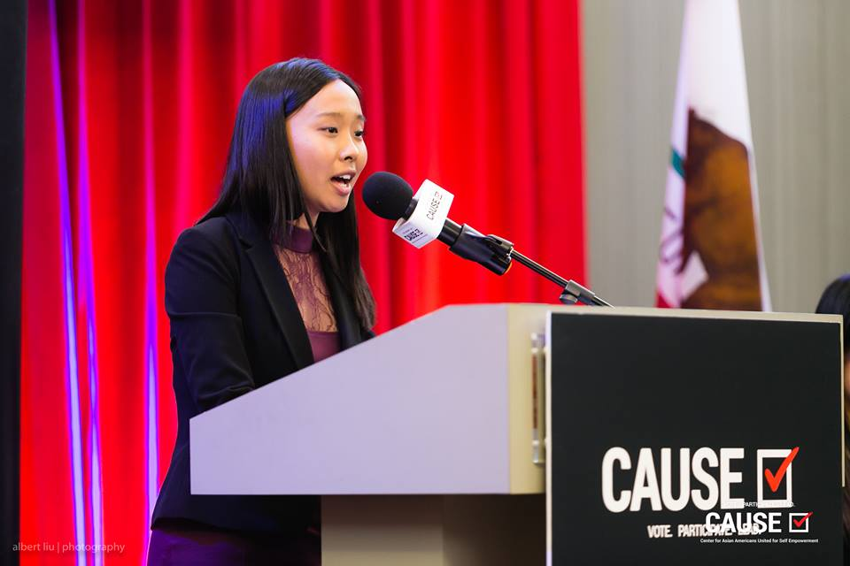 Katherine Hsu speaks at the 2018 CAUSE Leadership Academy Graduation