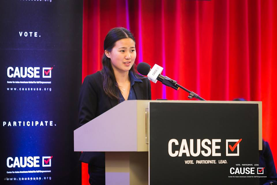 Yumei Lin speaks at the 2018 CAUSE Leadership Academy Graduation