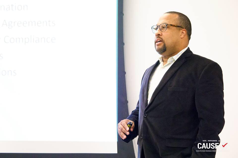 Uduak-Joe Ntuk speaking to the 2018 CAUSE Leadership Institute