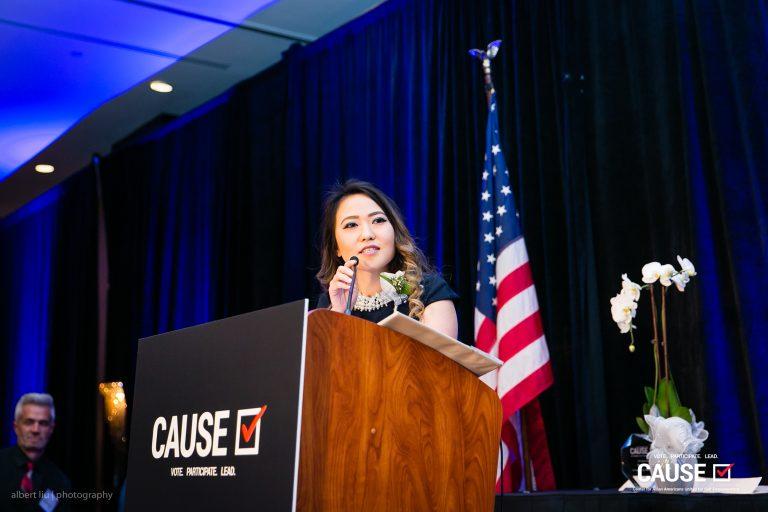 Kim Yamasaki speaking at the 2018 CAUSE Annual Gala