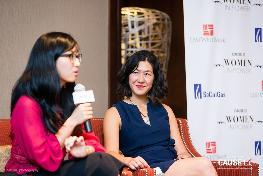 """Suzy Ryoo and Tracy Lawrence speaking at the 2018 CAUSE Women in Power """"Leading Through Workplace Patriarchy"""" Networking Reception"""