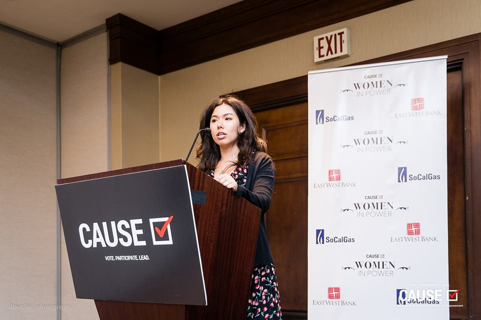 """Lindsey Horowitz speaking at the 2018 CAUSE Women in Power """"Leading Through Workplace Patriarchy"""" Networking Reception"""