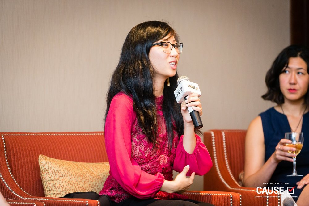"""Suzy Ryoo speaking at the 2018 CAUSE Women in Power """"Leading Through Workplace Patriarchy"""" Networking Reception"""