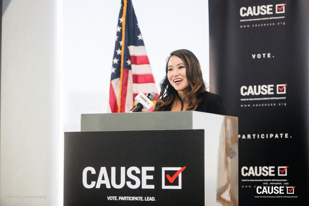 Kim Yamasaki speaking at the 2017 CAUSE Veterans Initiative Leadership Luncheon