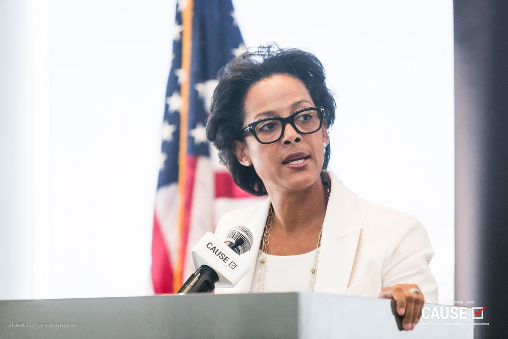 Renata Simril speaking at the 2017 CAUSE Veterans Initiative Leadership Luncheon