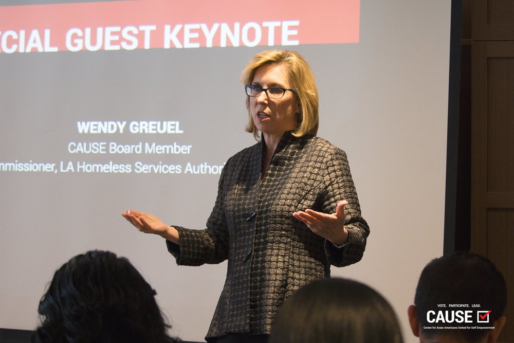 Wendy Greuel speaking to the 2019 CAUSE Leadership Network