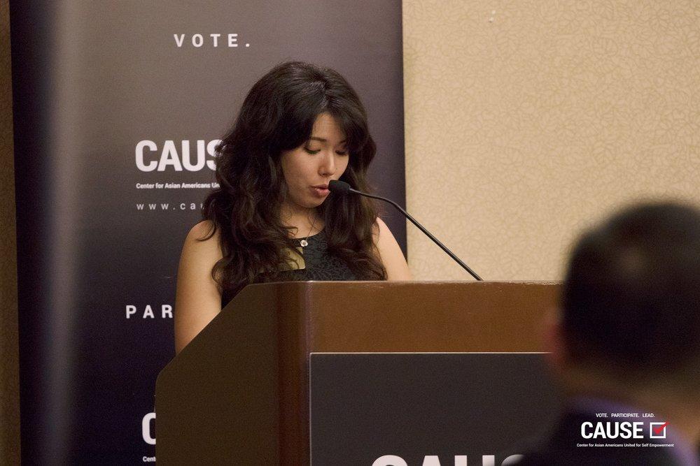 Lindsey Horowitz speaking at the 2017 Veterans Initiative Kickoff