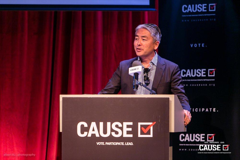 Al Muratsuchi speaking at the 2017 CAUSE Leadership Academy Graduation