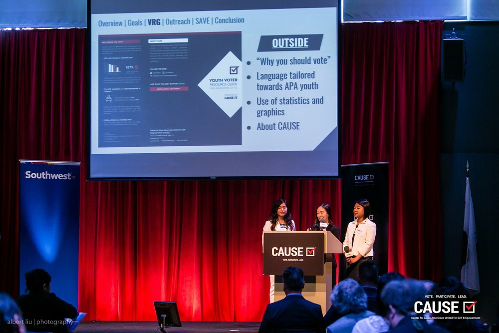 Erika Ngo, Olivia Zheng, and Helen Yu presenting at the 2017 CAUSE Leadership Academy Graduation