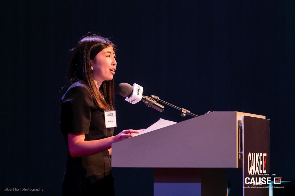 Hanah Lee speaking at the 2017 CAUSE Leadership Academy Graduation