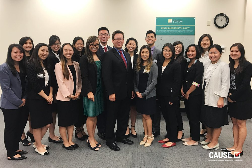 Tammy Tran and Kurt Ikeda with the 2017 CAUSE Leadership Academy at Southern California Edison