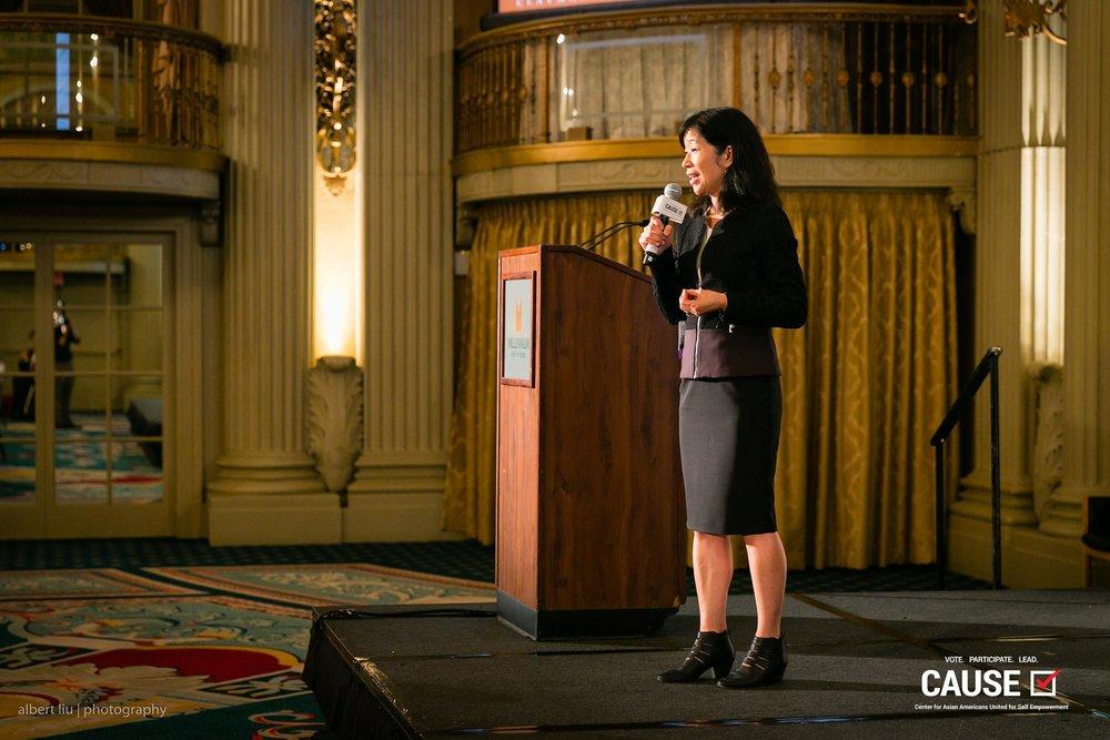 Lori Nishiura Mackenzie speaking at the 2017 CAUSE Women in Power Leadership Conference