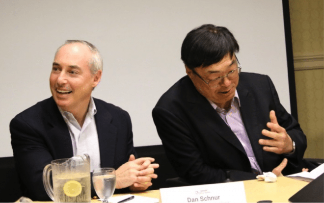 Dan Schnur and Charlie Woo speaking to the 2017 CAUSE Political Institute