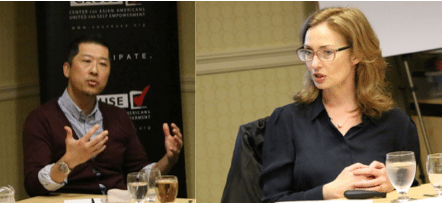 Gene Kim and Sarah Dusseault speaking to the 2017 CAUSE Political Institute