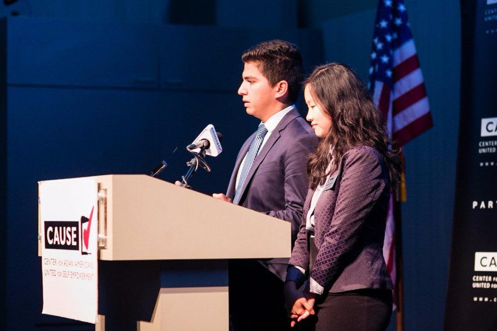 Edwin Saucedo speaking at the 2016 CAUSE Leadership Academy Graduation
