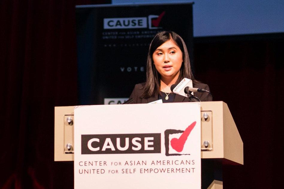Sabina Lee speaking at the 2016 CAUSE Leadership Academy Graduation